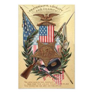 US Flag Medal Wreath Rifle Bayonet Photo Art