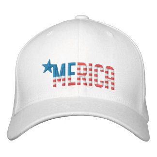 US Flag 'MERICA Embroidered Hat