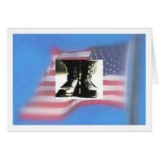 US Flag, Military Combat Boots Card