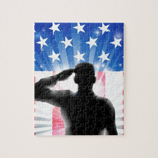 US flag military soldier saluting in silhouette Jigsaw Puzzle