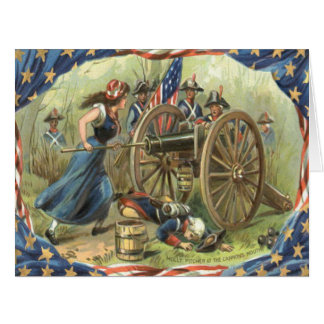 US Flag Molly Pitcher Cannon Revolutionary War Card