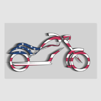 US Flag Motorcycle Sticker (Rectangle)