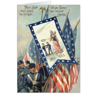 US Flag Parade March Civil War Lady Liberty Greeting Card