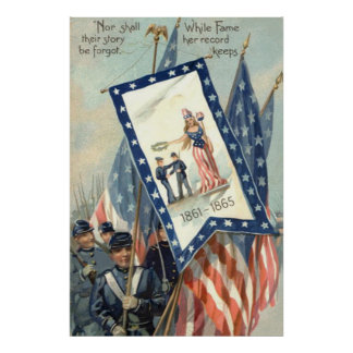 US Flag Parade March Civil War Lady Liberty Poster