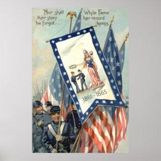 US Flag Parade March Civil War Lady Liberty Poster