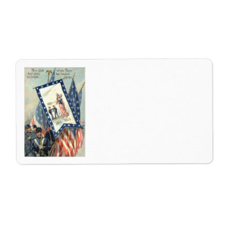 US Flag Parade March Civil War Lady Liberty Shipping Label