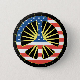 US Flag Peace Symbol 6 Cm Round Badge