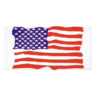 US Flag Custom Photo Card