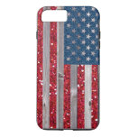 US Flag Red Blue Glitter Vintage Wood Panels iPhone 7 Plus Case