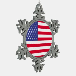 US Flag Snowflake Pewter Christmas Ornament
