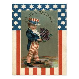 US Flag Uncle Sam Boy Violets Postcard