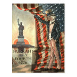 US Flag Uncle Sam Statue of Liberty Postcard