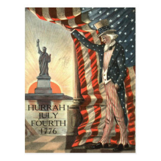 US Flag Uncle Sam Statue of Liberty Postcard