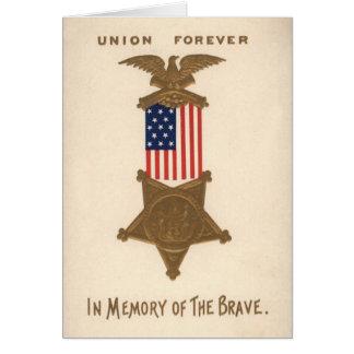 US Flag Union Civil War Medal Eagle Greeting Card