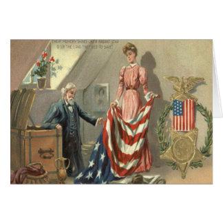 US Flag Union Civil War Medal Eagle Wreath Card