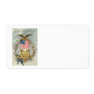 US Flag Union Civil War Medal Eagle Wreath Shipping Label