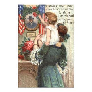 US Flag Victorian Mother Child Rose Wreath Art Photo