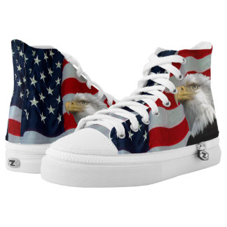 US FLAG WITH BALD EAGLE HIGH TOPS