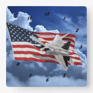 US Flag With Raptor Square Wall Clock