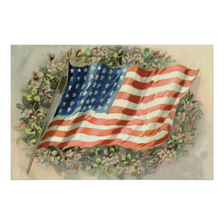 US Flag Wreath Flowers Memorial Day Poster