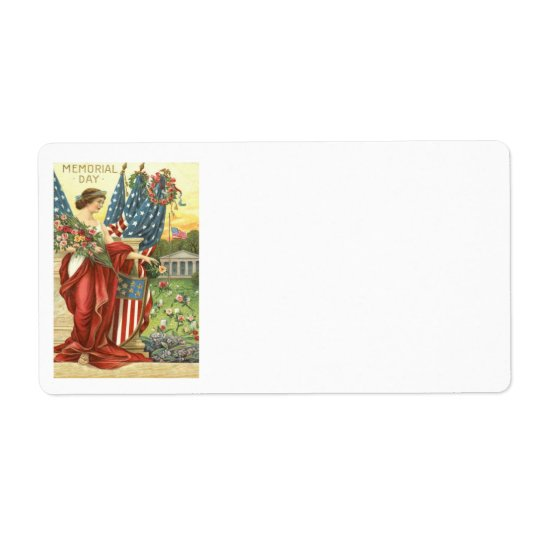 US Flag Wreath Lady Liberty Cemetery Shipping Label