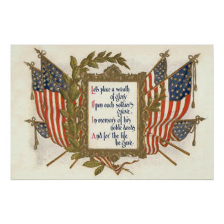 US Flag Wreath Memorial Day Poster