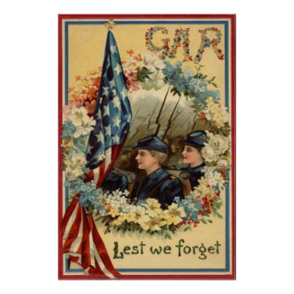 US Flag Wreath Parade March Civil War Posters