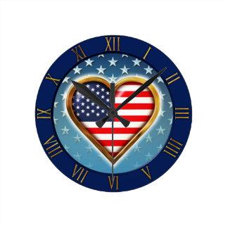 US Heart Round Clock
