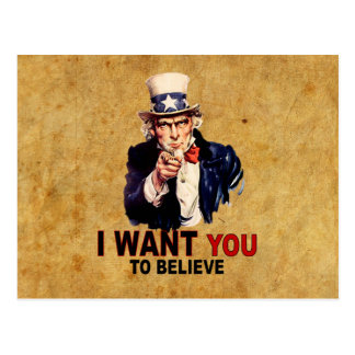 US - I Want You To Believe Post Card
