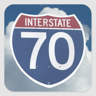 US Interstate 70 Shield, Highway Sign Square Sticker