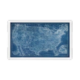 US Map Blueprint Acrylic Tray