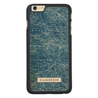 US Map Blueprint Carved Maple iPhone 6 Plus Case