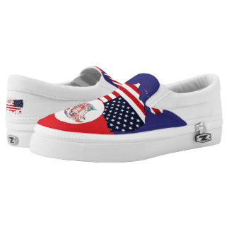 US Map & Eagle Slip On Shoes