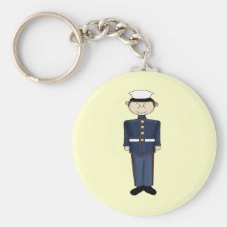 US Marine Corp Boy Basic Round Button Key Ring
