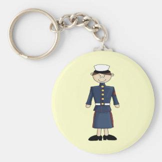 US Marine Corp Girl Basic Round Button Key Ring