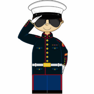 US Marine Corp NCO Saluting Sculpture Standing Photo Sculpture