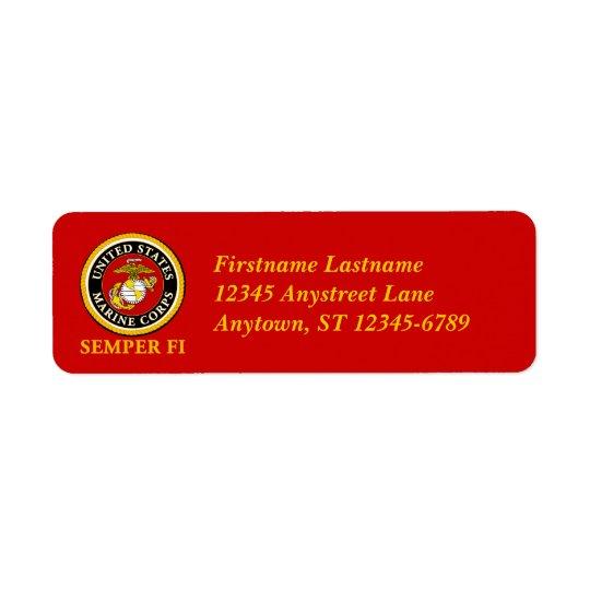 US Marine Official Seal - Semper Fi Return Address Label