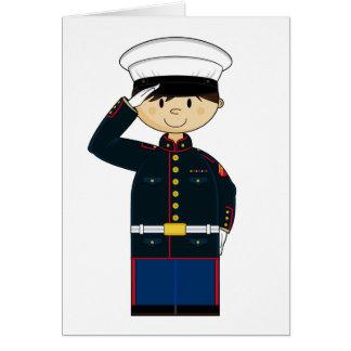US Marine Saluting Card