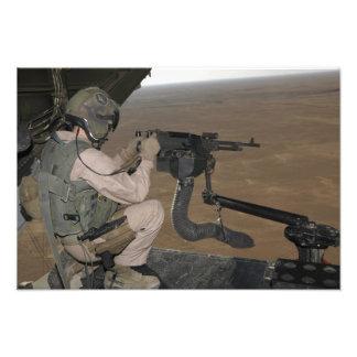 US Marine test firing an M240 heavy machine gun Photograph