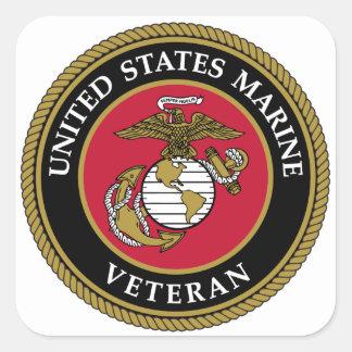 US Marine Veteran Blue Square Sticker