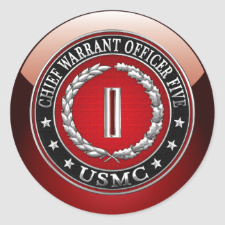 US Marines: Chief Warrant Five (USMC CWO-5) [3D] Classic Round Sticker