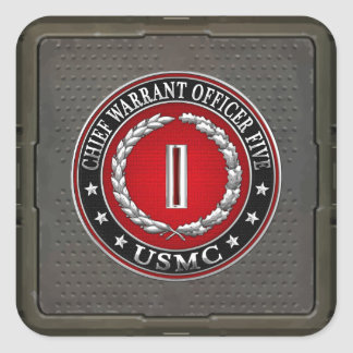 US Marines: Chief Warrant Five (USMC CWO-5) [3D] Square Sticker