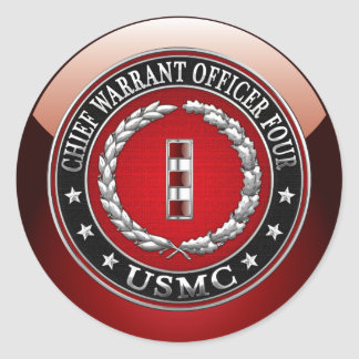 US Marines: Chief Warrant Four (USMC CWO-4) [3D] Classic Round Sticker