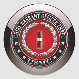 US Marines: Chief Warrant Three (USMC CWO-3) [3D] Classic Round Sticker