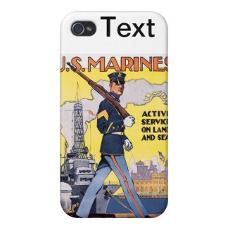 US Marines WWI Poster Vintage Cover For iPhone 4