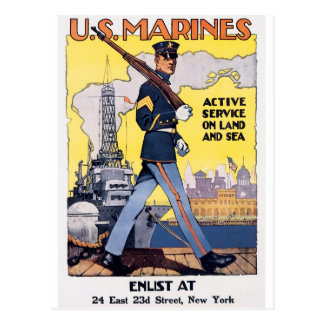 US Marines WWI Poster Vintage Post Card