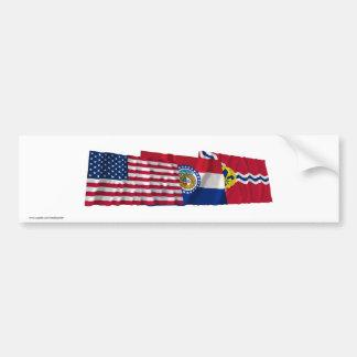 US, Missouri and Saint Louis Flags Bumper Sticker