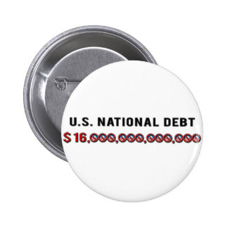 US National Debt Pinback Button