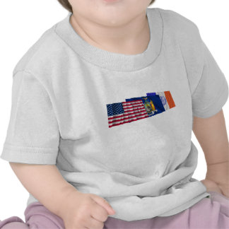 US, New York State and New York City Flags Shirt