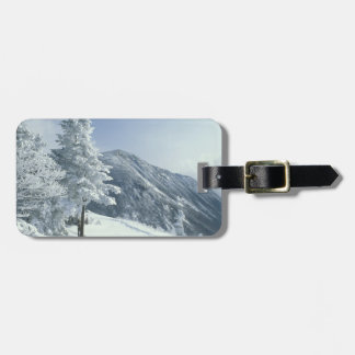 US, NH, Snow covered trees Trails Snoeshoe Travel Bag Tags